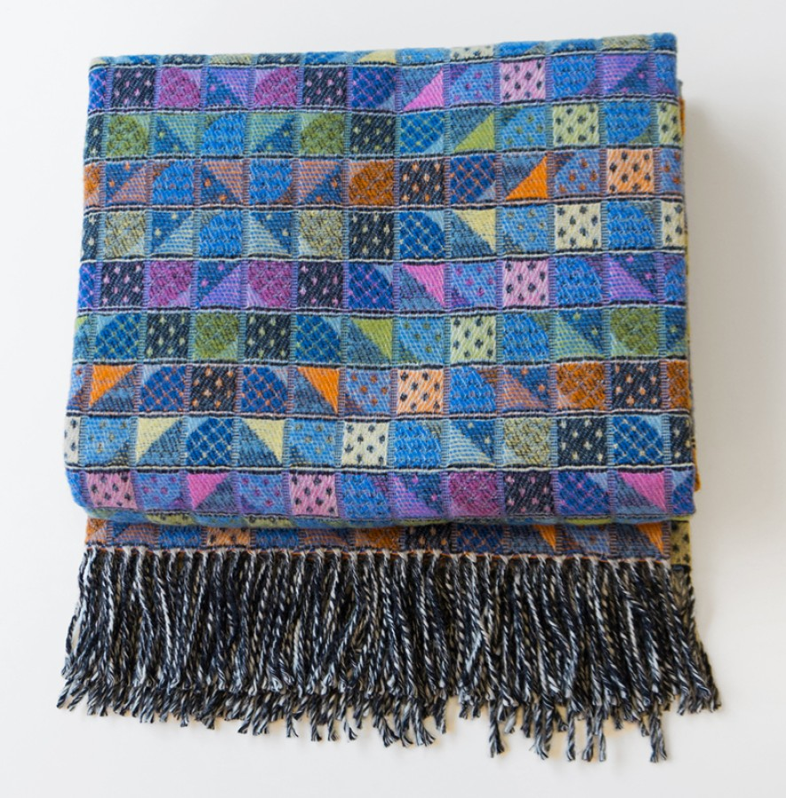 Blue Wool Blanket - Throw With Pattern
