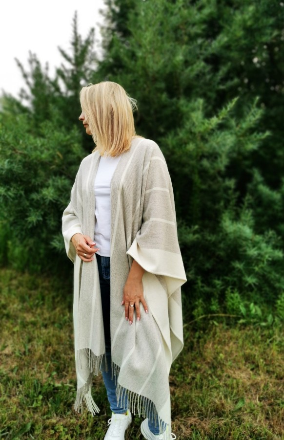 Beige Wool Poncho With Fringes