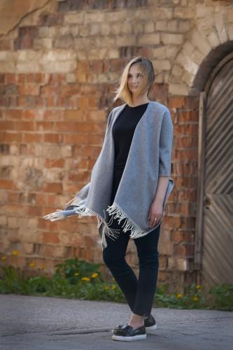 Grey Merino Wool Poncho