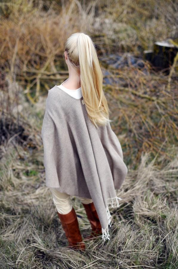 Alpaca wool and cotton Poncho