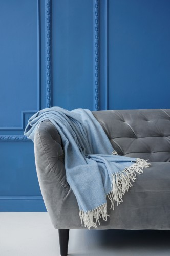 Blue Herringbone Merino Wool Blanket