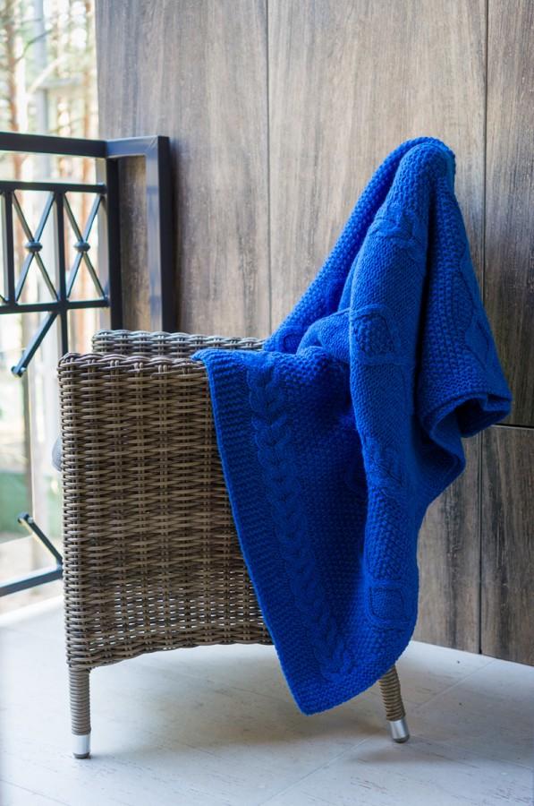 Blue Knitted Merino Wool Blanket - Throw