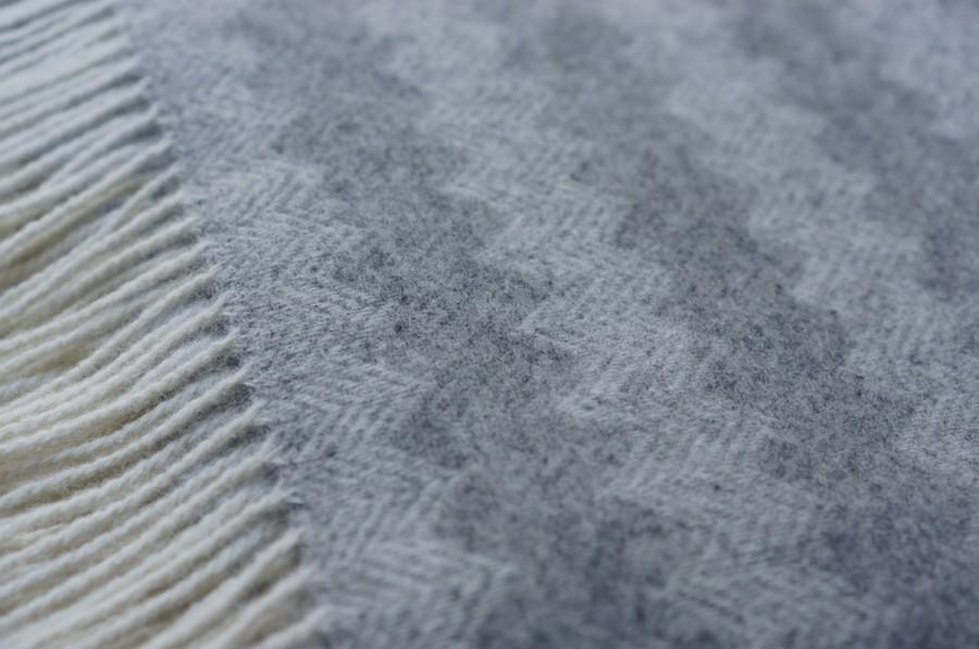 Bright Gray Wool Blanket - Throw