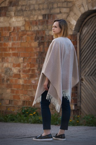 Brown Wool Poncho With Cashmere