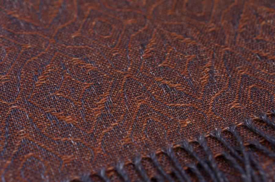 Dark Orange Linen Shawl
