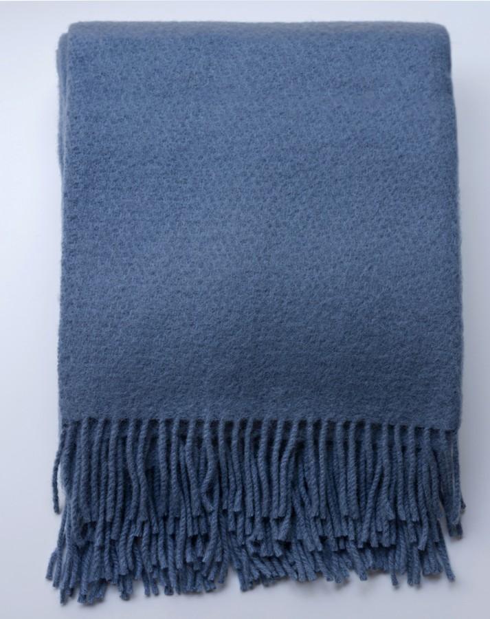 Royal Blue Merino Wool Blanket - Throw