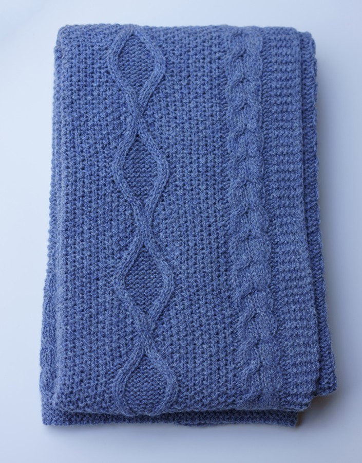 Sky Blue Knitted Blanket - Throw