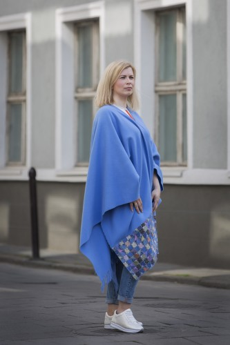 Sky Blue Wool Poncho With Pattern